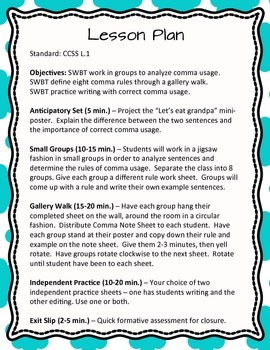 Comma Usage Small Group Cooperative Learning Lesson - Grades 6-8