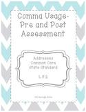 Comma Usage Pre and Post Assessment 5th Grade Common Core Aligned
