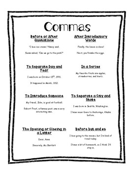 Comma Usage Printable