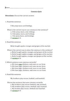 Comma Usage Quiz