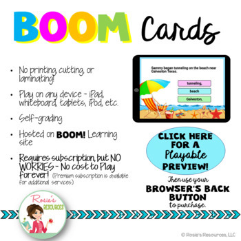 Comma Usage - Summer Themed - Boom Cards