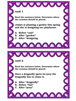 Comma Usage Task Cards: Spring-Themed