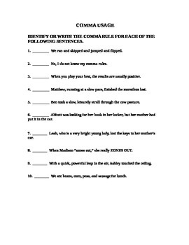 Comma Usage worksheet