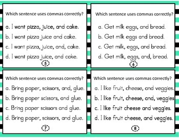 Comma Use Task Cards