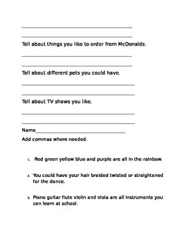 Comma Worksheet Bundle