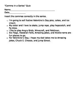 Comma in a Series Quiz