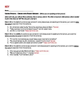 Comma of Direct Address Worksheet - Mini Lesson