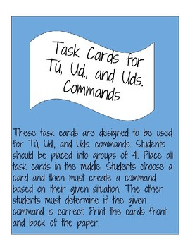 Command Task Cards for Spanish Los mandatos