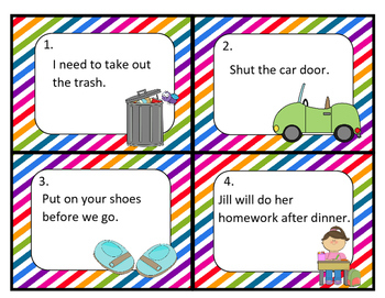 Commanding and Telling Sentences Task Cards and Activities