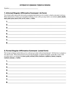 Commands / Imperative Tense Spanish Practice