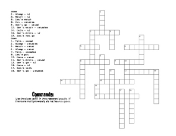 Spanish Commands Puzzle Pack
