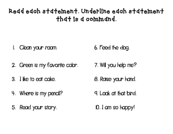 Commands (imperative sentences)
