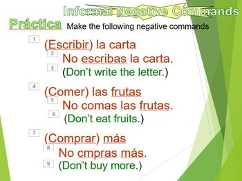 Commands negative informal (Spanish)