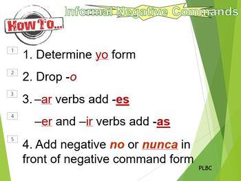Commands negative informal (Spanish)