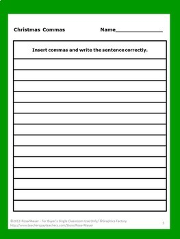 Commas Christmas Writing Packet Edit and Write  Practice