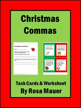 Christmas Language Arts Commas Task Cards and Worksheets