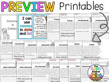 Commas No Prep Printables for First and Second Graders