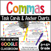 Commas Distance Learning  | Commas Task Cards | Commas in a Series & Other Rules