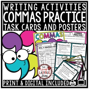 Commas Activities 3rd Grade, 4th Grade- Writing Comma Rules, Task Cards & More