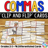 Commas Activities: 96 Commas Task Cards for Grades 2-3 (Clip and Flip)