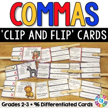 Commas Activities: 96 Commas Task Cards for Grades 2-3 (Cl