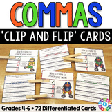 Commas Activities: 72 Commas Task Cards for Grades 4-6 (Clip and Flip)