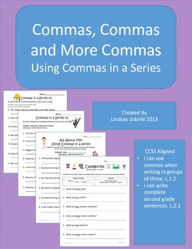 Commas: 2nd Grade Common Core Practice Packet