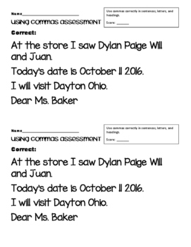 Commas Assessment