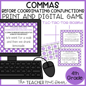 Commas Before Coordinating Conjunctions Game Center Activity