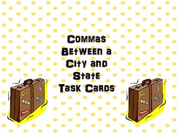 Commas Between a City and State Task Cards