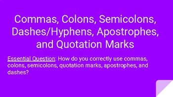 Commas, Colons, Semicolons,  Dashes/Hyphens, Apostrophes, and Quotation Marks