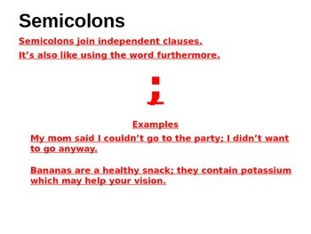 Commas, Colons and Semi-Colons PowerPoint