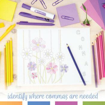 Color by Grammar Commas Coloring Activity