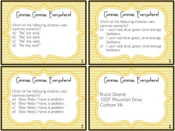 Commas, Commas, Everywhere! Comma Task Cards