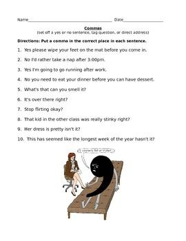 Commas & Conjunctions Worksheet