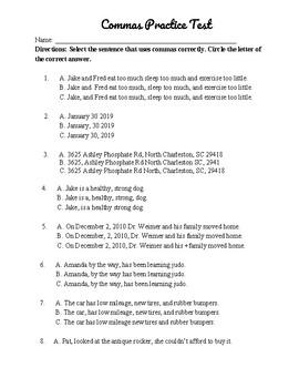 Commas Diagnostic Test