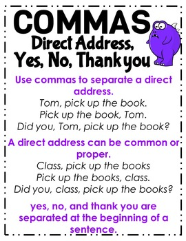 Commas Direct Address Yes No Thank You