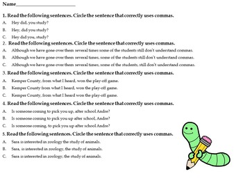Commas, Direct & Indirect Objects Center Activities for Middle School Students