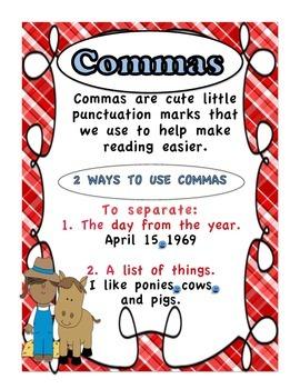 Commas Down on the Farm