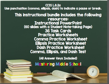 Commas, Ellipses, and Dashes to Indicate a Pause (Bundle) - CCSS L.8.2a