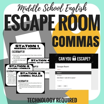 Commas - Escape Room - Middle School English