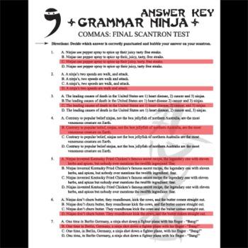 Commas Final Exam (2 versions) - Grammar Ninja
