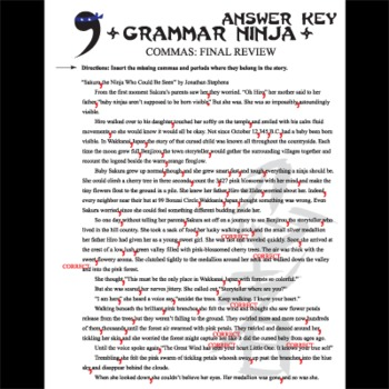 Commas Final Review Grammar Ninja By Created For Learning Tpt