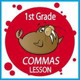 Commas Activities + COMPLETE Lesson, COLOR Poster, Commas Worksheet (L.1.2c)