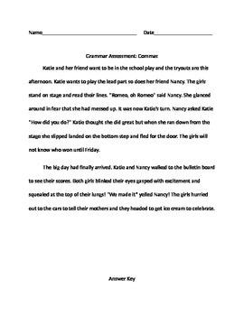 Commas Formative Assessment