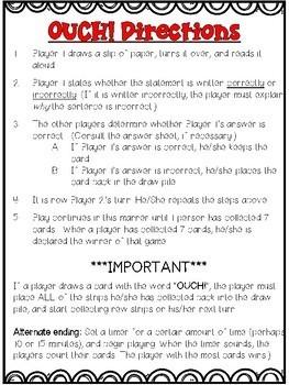 Commas Game: Analyze the Sentences for Comma Errors