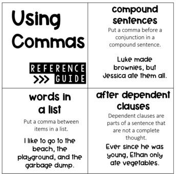 Commas Activities - Lists, Appositives, Compound Sentences, Transitions