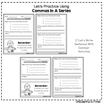 Commas In A Series - 9 Worksheets and 1 Task Card Activity