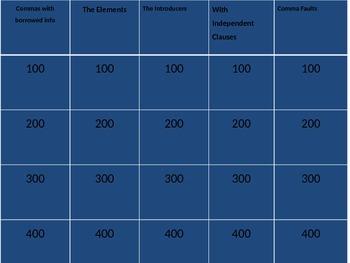 Commas Jeopardy