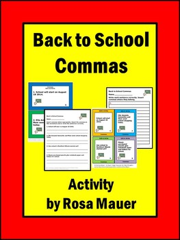 Commas Back to School Punctuation Activity
